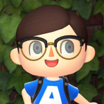 Portrait of Animal Crossing avatar wearing a t-shirt emblazoned with an A