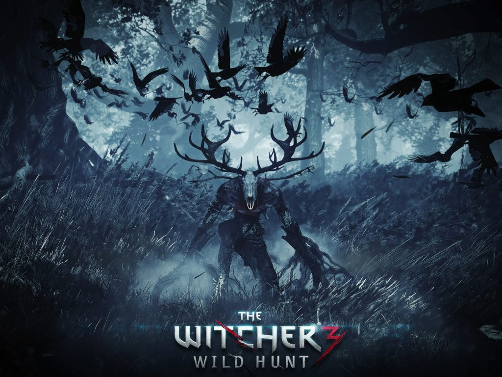 The Witcher III: WIld Hunt. Promotional image for the spooky video game. A flock of crows swirls around a horned monster,