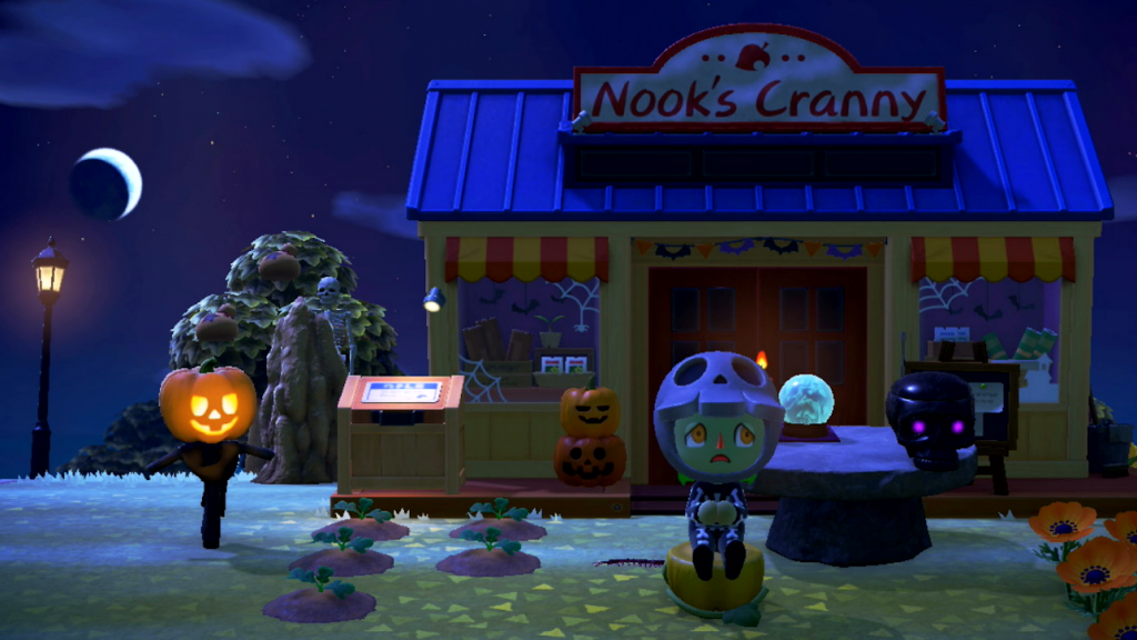Animal Crossing: New Horizons. The player character, dressed as a skeleton with green skin and orange eyes, sits on a pumpkin.