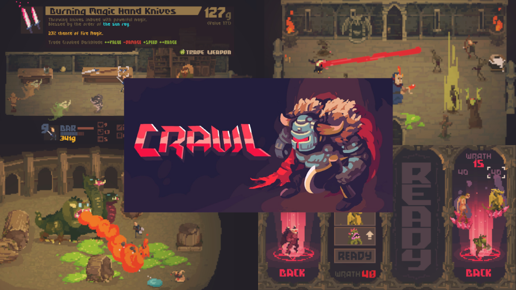 Crawl. Composite image showing screens from non-scary video game Crawl. Colourful pixel graphics show a three-headed dragon, burning magic hand knives, and mysterious portals.