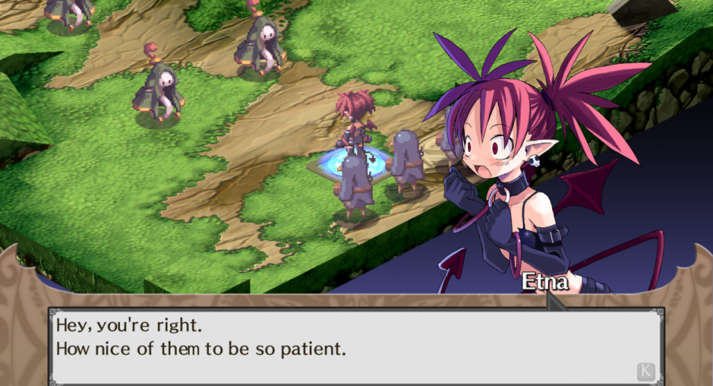 "Disgaea. Etna, a demon with spiky red hair, exclaims ""Hey, you're right. How nice of them to be so patient."" In the background, Etna is confronting hooded figures."