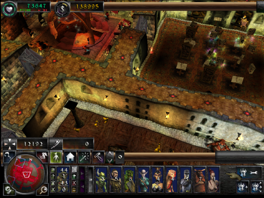 Dungeon Keeper. A stylsed, top-down view of a dungeon.