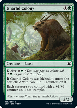 Magic: the Gathering card; Gnarlid Colony. Several of the cutest horned beasts perch in trees.