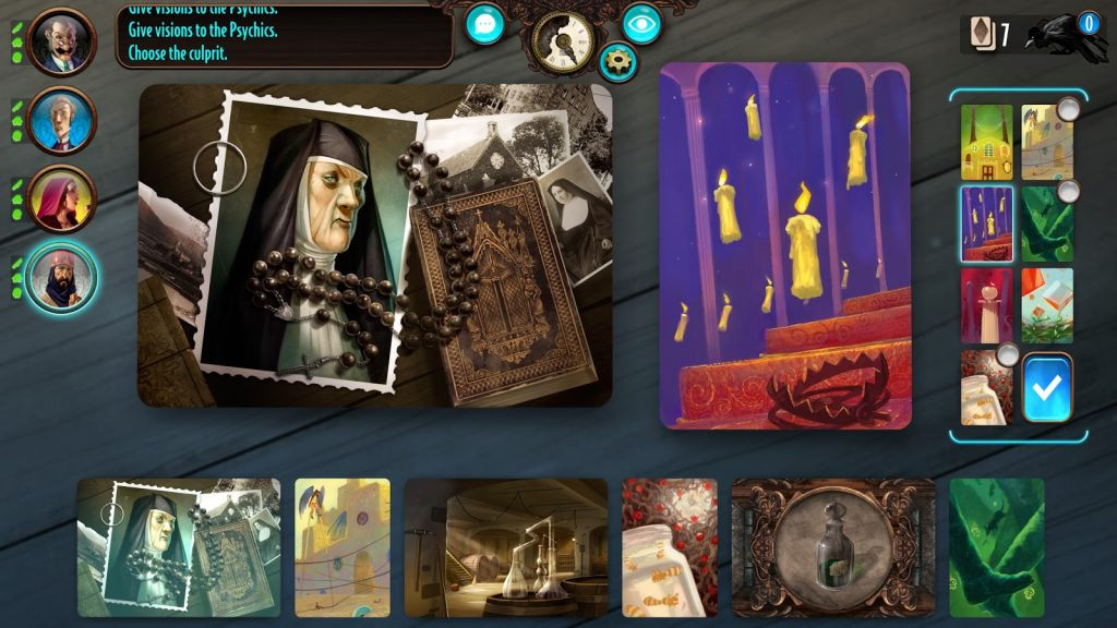 Mysterium. A virtual tabletop holds mysterious cards.