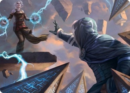 Magic: the Gathering card art; Nahiri's Binding. Spiky hedrons surround Jace. They do not look cute this time.