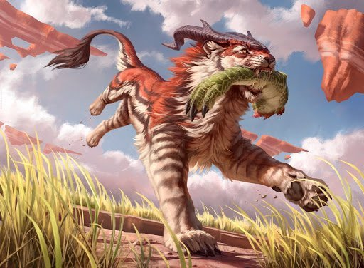 Magic: The Gathering card art; Prowling Felidar. A horned wolf-like creature carries a large fish.