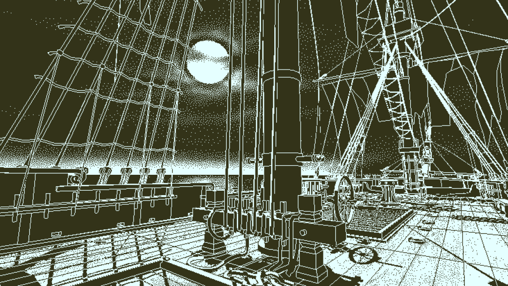 Return of the Obra Dinn. Black and white image shows detailed ship's rigging with a full moon in the sky.
