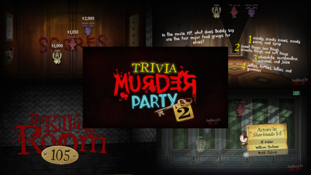 Trivia Murder Party 2. Composite image showing example trivia questions from the Jackbox 6 game.
