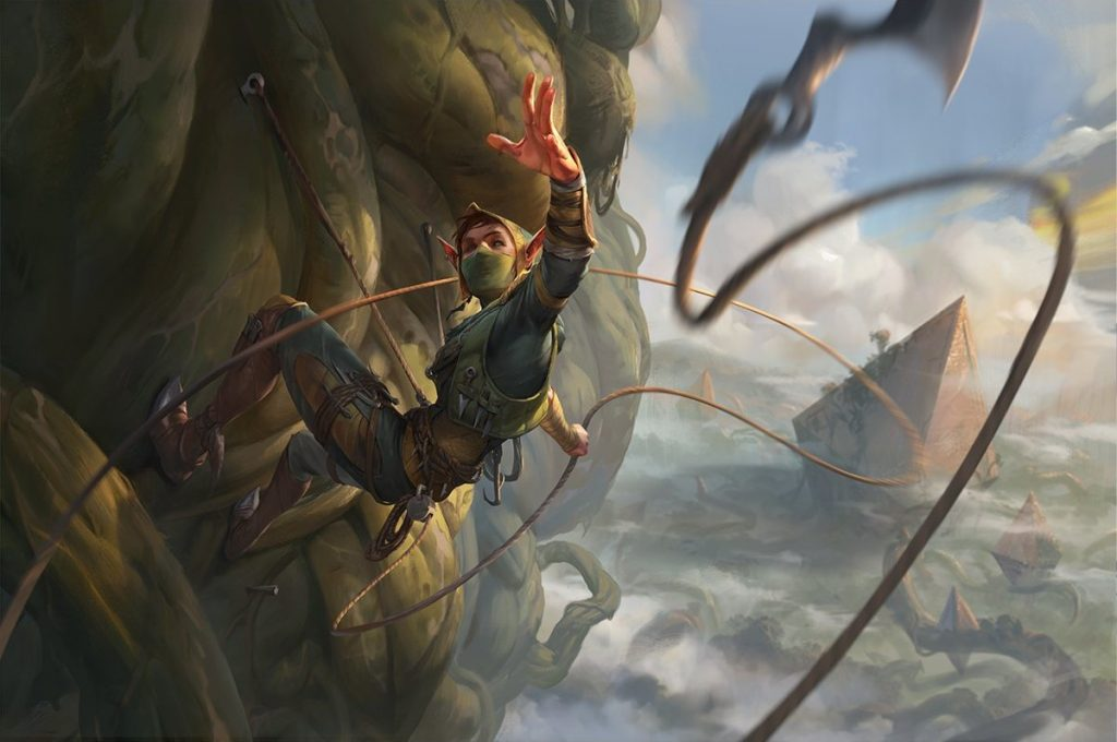 Magic: The Gather card art; Tajuru Snarecaster. A rock-climbing elf throws a rope to the viewer.