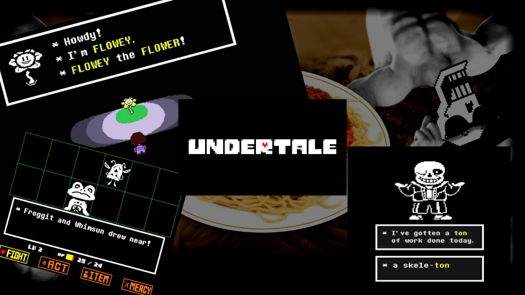 Undertale. Composite image featuring screenshots from the spooky video game. 8-bit characters include Flowey the Flower, Froggit and a punning skeleton.
