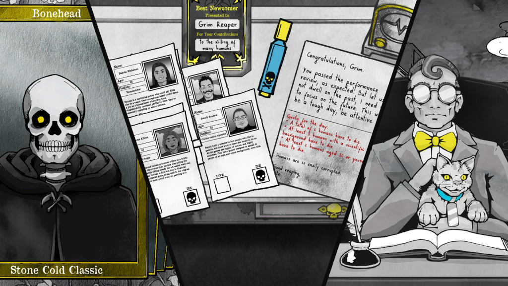 Death and Taxes. Image shows a headshot of a skeleton called Bonehead, marked Stone Cold Classic; a desk covered in the Grim Reaper's paperwork; and a spectacled man with a bow tie and evil villain cat.