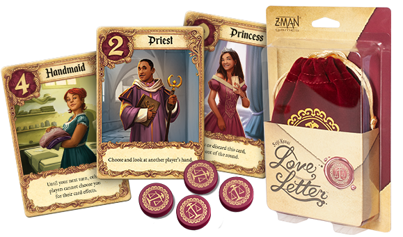 Illustrative picture showing role cards and tokens alongside the neat velvet pouch of Love Letter.