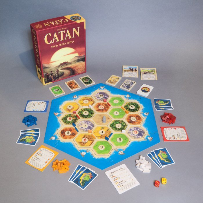 Illustrative photo of a game of Settlers of Catan in progress. A hexagonal board shows a stylised island smattered with wooden game pieces. Various hands of cards surround the board.