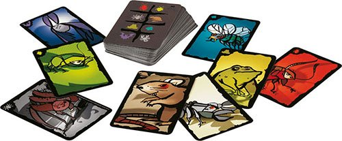 A photo showing cards in the eight 'suits' of Cockroach Poker. Each card is taken up by a colourful cartoon of the animal in question: bat, spider, stinkbug, cockroach, toad, fly, rat, and scorpion.
