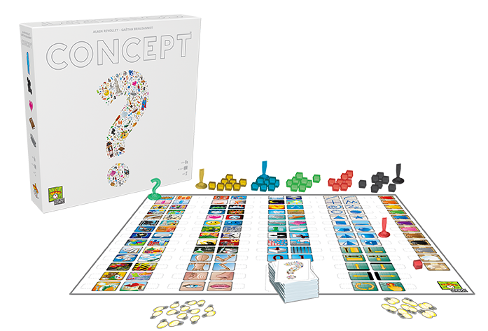 Illustrative photo of gameplay for Concept. A colourful board showing commonly-used symbols is surrounded by prompt cards and 'idea' tokens in the shape of lightbulbs.