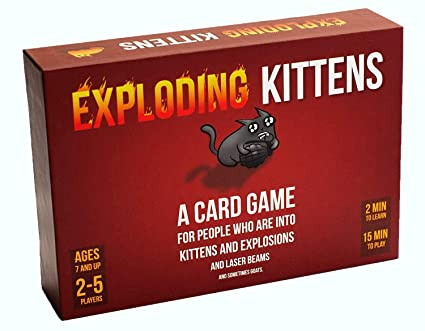 Box art for the family-friendly card game, Exploding Kittens. A doodle of a cat holding a bomb is captioned 'a card game for people who are into kittens and explosions and laser beams...'