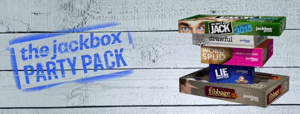 Illustrative image for the Jackbox Party Pack. The titles of mini-games include 'You don't know Jack', 'drawful', 'Word Spud', 'Lie Detector', and 'fibbage'.