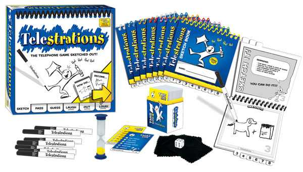 Picture showing the contents of a box of Telestrations. Eight spiral-bound notebooks, a deck of prompt cards, an egg timer, felt pens and cloth erasers.