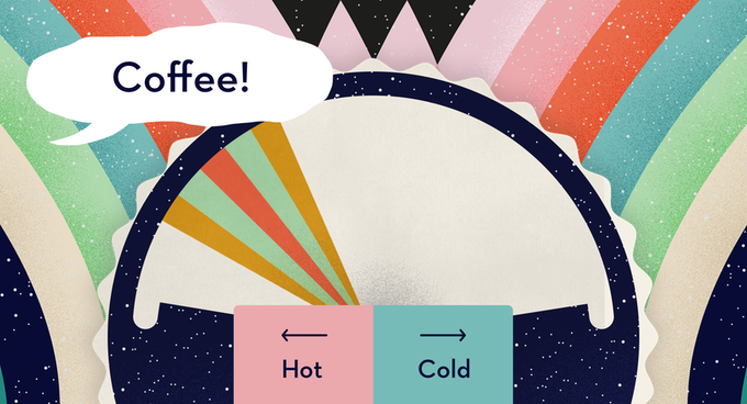 Illustrative image showing the wheel used to play Wavelength. It's a dial with 'hot' and one end and 'cold' and the other. A speech bubble reads 'coffee'.