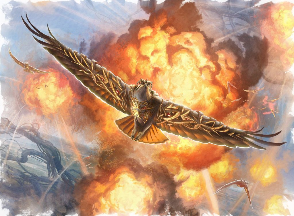 A regal hawk with golden armour flies away from an explosion.