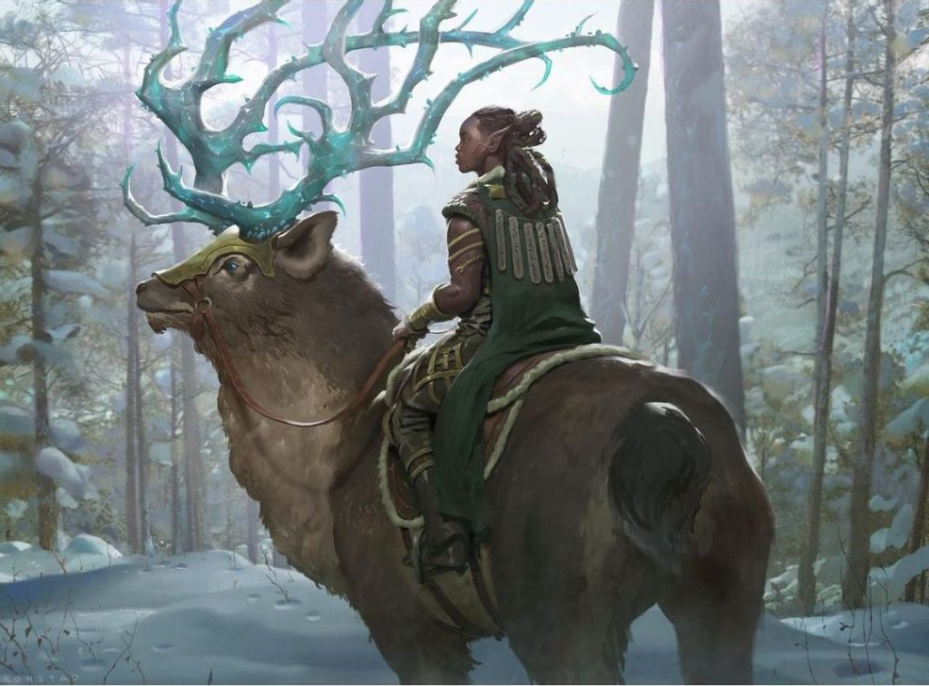 In a forest, a strangely-dressed elf rides a reindeer whose antlers glow blue with magic.