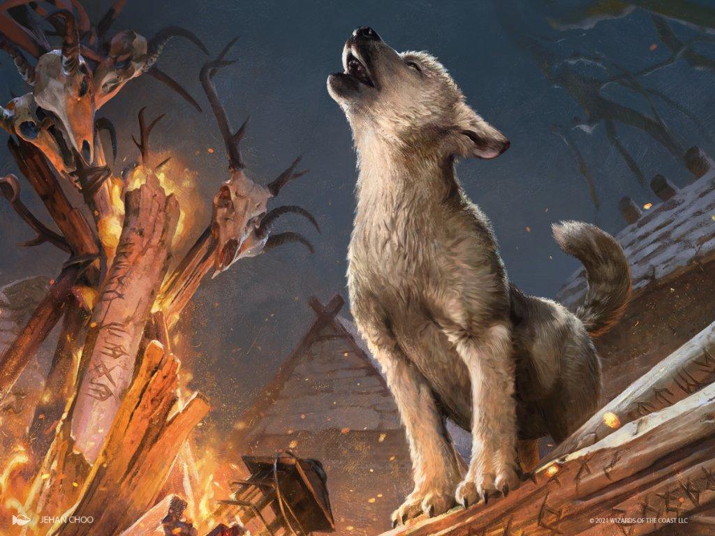 A grey puppy howls beside a bonfire with animal skulls.