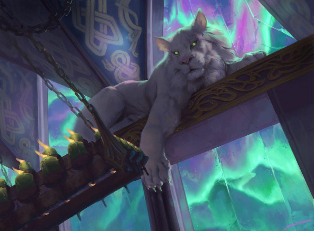 In the rafters of a Viking longhall perches a white lion, green eyes alert.