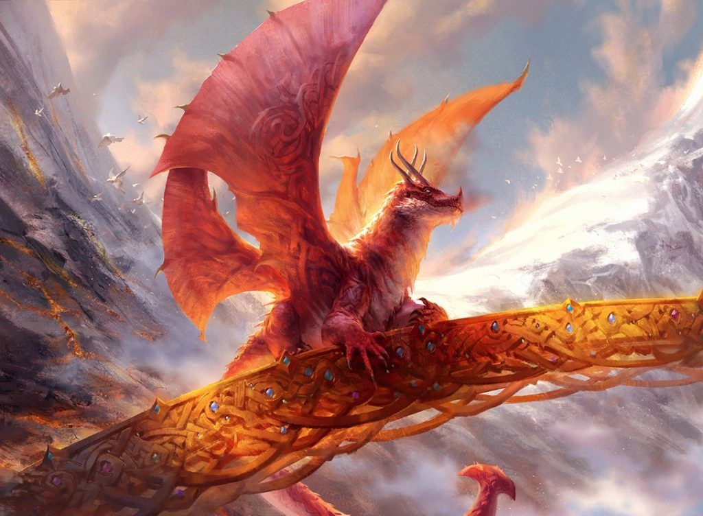 A stocky red dragon sits atop an ornate golden bridge.