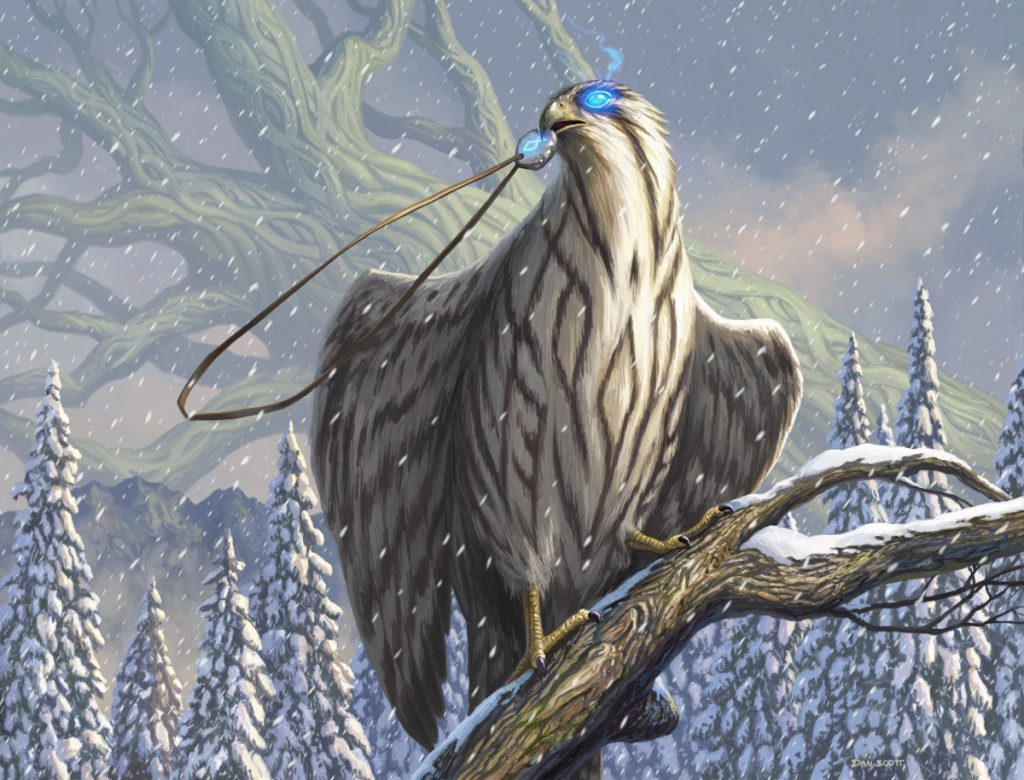 A barred white hawk with a glowing eye perches on a snow-laden branch, magical talisman clasped in its beak.