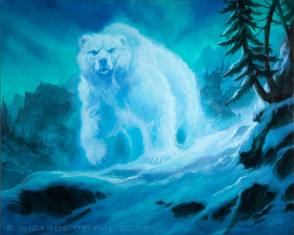 An immense spirit bear prowls a snowy mountainside by night.