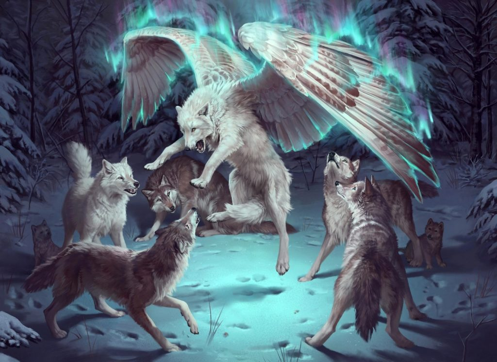 A wolf is lifted by magical white wings. The rest of its pack look on.